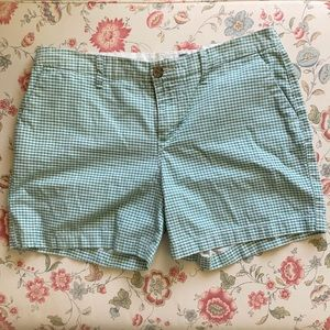 Old Navy Green & White Checked Shorts, Size 8